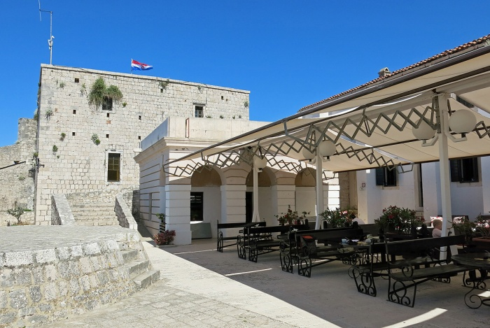 Cafe bar at Spanjola Fortress above Hvar Town on island of Hvar, Croatia - where David J Rodger started writing Shadows of Quantinex novel