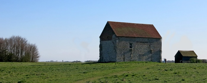 Chapel of St Peter-on-the-Wall Essex England built for the East Saxons in AD 654 by St Cedd, astride the ruins of the abandoned Roman fort of Othona - David J Rodger