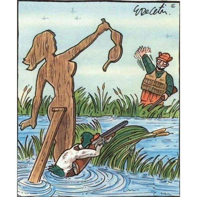 duck lures hunter into trap - humor humour - evolution