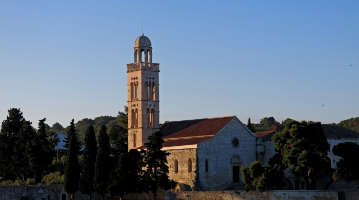 sunrise at the old church Hvar Town, Croatia - image by David J Rodger