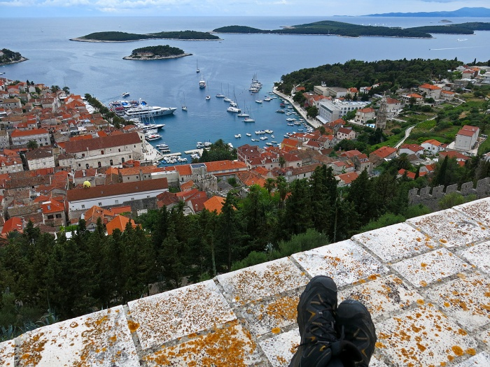 view of Hvar Town and harbour from walls of Spanjola Fortress - image David J Rodger