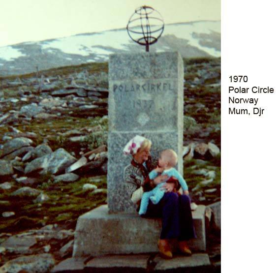 David J Rodger 1970 At the Polar Circle marker - Norway