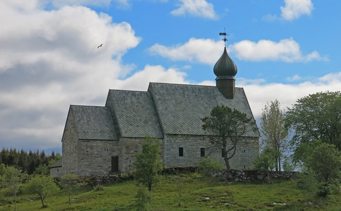 Dønnes kirke below Donnesfjell, dates from the 1200s, part of the Viking days - image David J Rodger