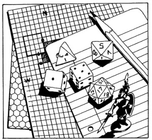 RPG graph paper pencils dice and lead figures - David J Rodger's first experience in 1981 with dungeons and dragons