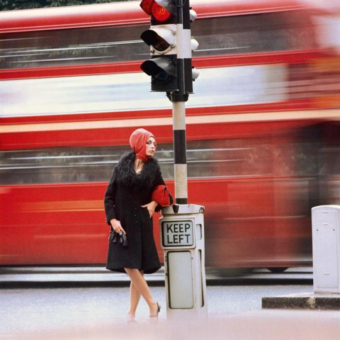 Traffic 1960 Photograph Norman Parkinson swinging sixties London woman with red London Bus