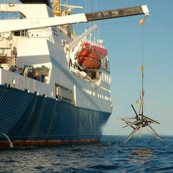 A ship drops non-Euclidean sculpture into Pacific Ocean above Marianas Trench