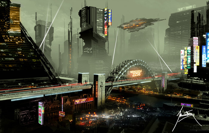 cyberpunk art Newcastle Upon Tyne in the near future - science fiction image by trevor storey