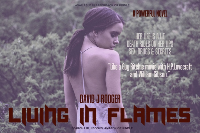 Living in Flames is a great sci fi book set in the near future by David J Rodger blends cyberpunk and Cthulhu Mythos horror