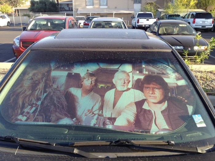 STAR WARS Chewbacca, Luke Skywalker, Obi-Wan Kenobi and Han Solo spotted in a car park in Spain after Millennium falcon tumbles through wormhole