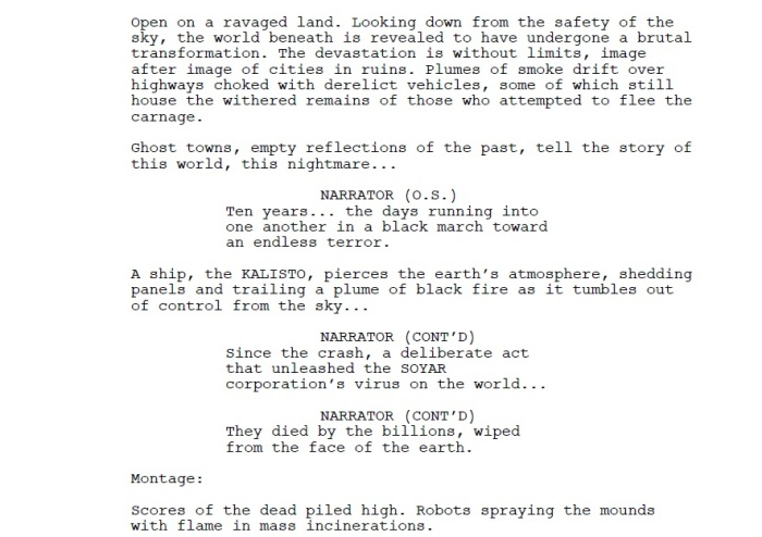 opening scene of Yellow Dawn - The Age of Hastur movie script - draft Oct 2015