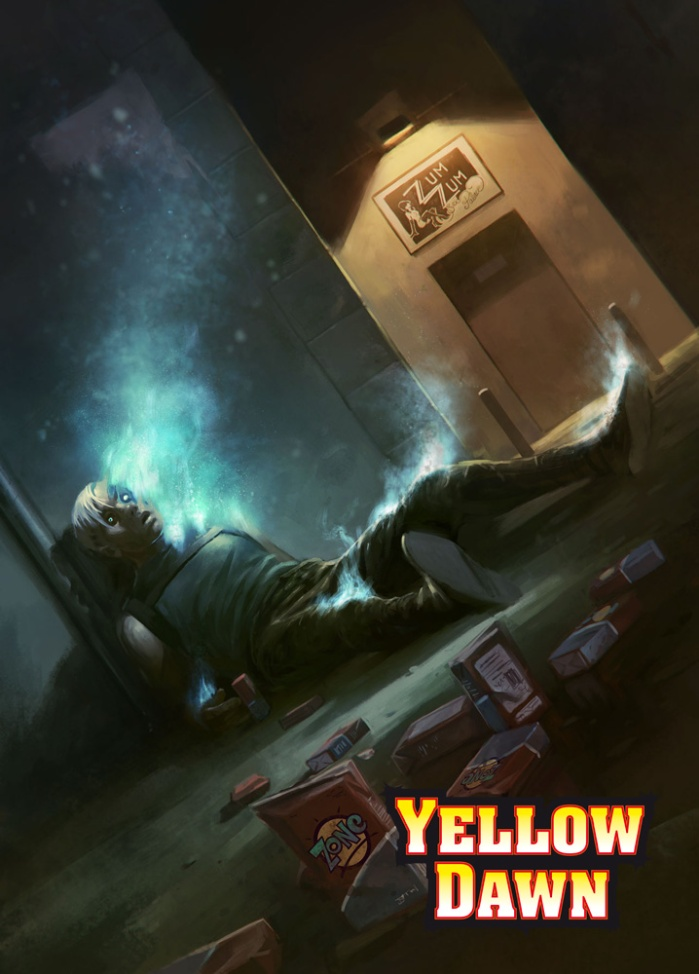 Designer death - genetically engineered humans used in sex industry and low skill jobs - cyberpunk in the post-apocalyptic world of YELLOW DAWN by David J Rodger